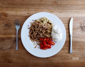 Bananenscramble met koekenpancrumble: recept voor een gezond en lekker ontbijt